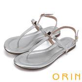 限時特賣-ORIN 夏日時尚風 大圓點金箔T字牛皮夾腳涼鞋-銀色