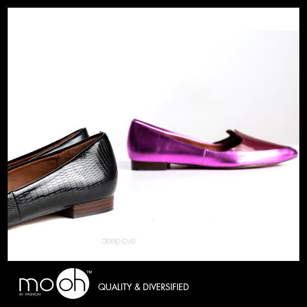 尖頭娃娃鞋 真皮平底鞋 淺口 拚色 歐美蛇紋低跟平底鞋 mo.oh (歐美鞋款)