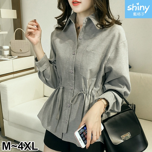 【V2642-2】shiny藍格子-瑕疵特賣.簡單口袋造型抽繩收腰長袖襯衫