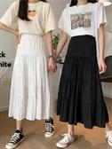 蛋糕裙 夏季韓版港味復古高腰A字蛋糕雪紡裙女中長款黑色半身裙 爾碩 雙11