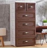 加厚大號抽屜式收納櫃衣服玩具整理櫃【棕色【58 面寬】五層】需組裝