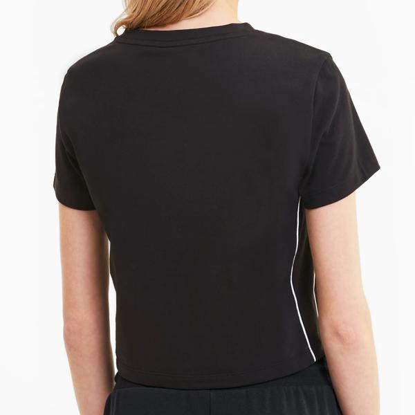 PUMA Classics 女裝 短袖 短版 貼身 休閒 慢跑 跳豹 印花 黑 歐規【運動世界】59763101