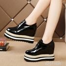 厚底內增高鬆糕鞋女冬20秋季新款單鞋坡跟高跟黑色加絨小 黑色 依凡卡時尚