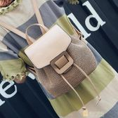 草編包包女包夏季日韓後背包時尚潮編織單肩旅行迷你背包 快速出貨