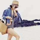 草帽 撞色 雙色款 海邊 沙灘波西米亞 ...