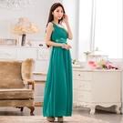 中大尺碼洋裝 L-3XL小禮服韓版雪紡單肩無袖縫鑽長版連衣裙 綠色 #gk9634 @卡樂@