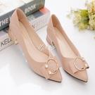 低跟鞋 粗跟單鞋女新款中低跟淺口尖頭軟皮瑪麗珍奶奶鞋復古