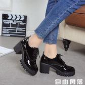 2019春季新款英倫風少女小皮鞋女士鞋子中跟粗高跟鞋增高學生單鞋  自由角落