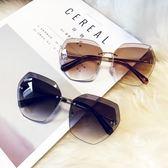 墨鏡/太陽眼鏡 多邊形無框圓臉太陽鏡復古眼鏡 巴黎春天