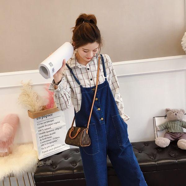 618年㊥大促 春夏新品牛仔褲女2019時尚新款顯瘦寬鬆韓版背帶褲春裝九分褲女褲