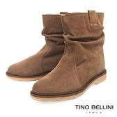 Tino Bellini義大利進口自然抓皺內鋪毛平底中筒靴_駝 B79207 歐洲進口款