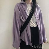 襯衫女長袖復古港味新款潮洋氣外套韓版寬鬆初秋上衣輕熟 扣子小鋪