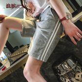 五分運動褲女 夏寬鬆直筒褲韓版短褲休閒褲純棉杠條 5分熱褲