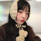 韓國ins可愛針織耳包毛球繫帶毛線耳罩秋冬季護耳保暖復古耳套女 喵小姐