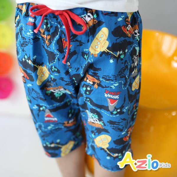 童裝 短褲 海底淺水艇動物綁帶短褲(深藍)
