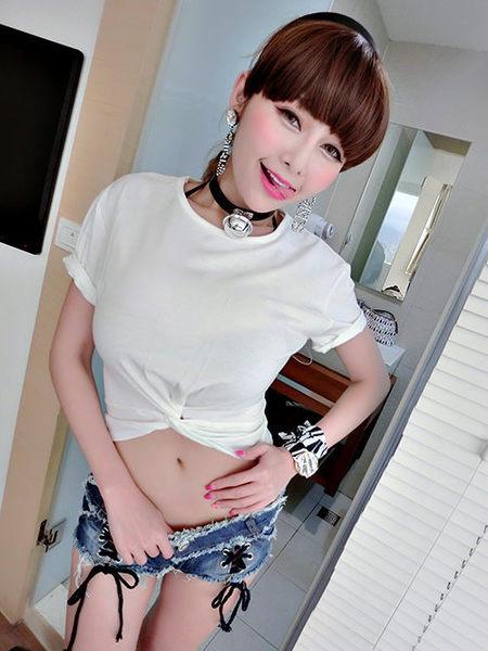 克妹Ke-Mei【AT43265】日本JP獨家夜店辛辣釘釦馬甲綁帶破損牛仔短褲