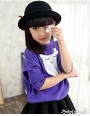 春秋新款女童毛衣套頭韓版長袖針織衫外套蝙蝠衫兒童圓領打底衫潮