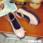 娃娃鞋 百搭女平底單鞋日系軟妹洛麗塔鬆糕厚底小皮鞋娃娃鞋圓頭 愛丫愛丫