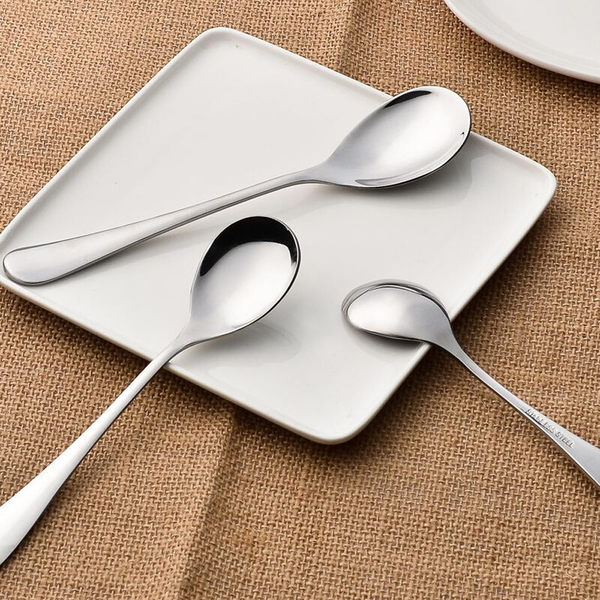PUSH! 餐具用品不銹鋼水滴型湯匙勺子湯勺餐具 3號2pcs套組E39