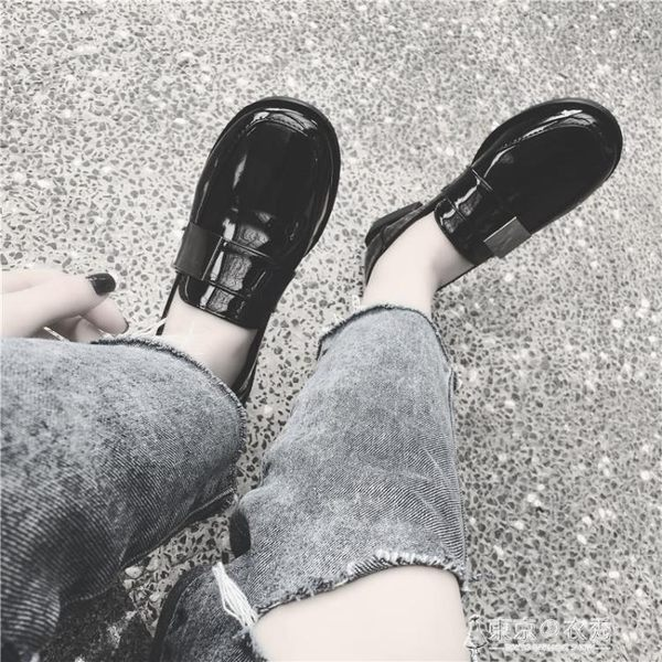 小皮鞋女夏韓國休閒鞋復古女鞋牛津平底一腳蹬樂福鞋原宿單鞋 【東京衣秀】