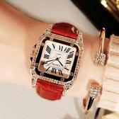 女士手錶 女士手錶防水時尚款新款韓版潮休閒簡約流水鉆大氣手錶女學生  蘑菇街小屋