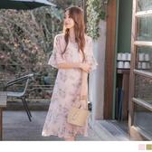 《DA6327》清新印花荷葉裙襬拼接喇叭袖雪紡洋裝 OrangeBear