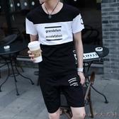 短袖t恤男士套裝夏大碼季2020新款韓版帥氣休閒帥氣一套衣服男裝夏裝LXY6915【Rose中大尺碼】