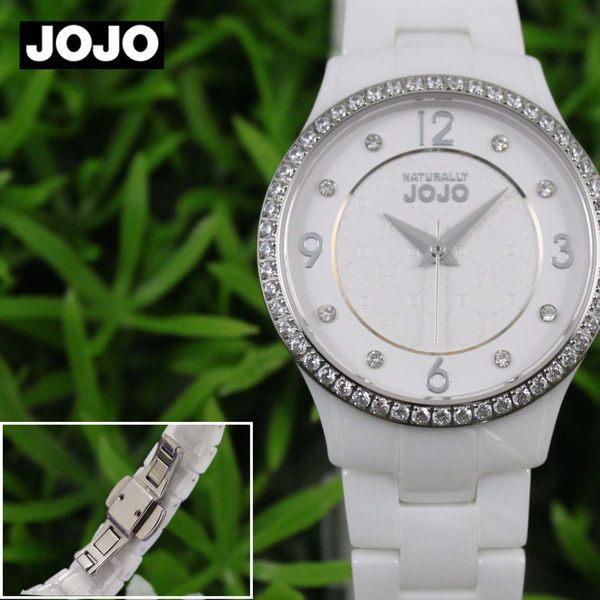 【萬年鐘錶】JOJO 陶瓷鑽錶 NATURALLY  秘密花園晶鑽陶瓷腕錶  白x白  JO96881-80F