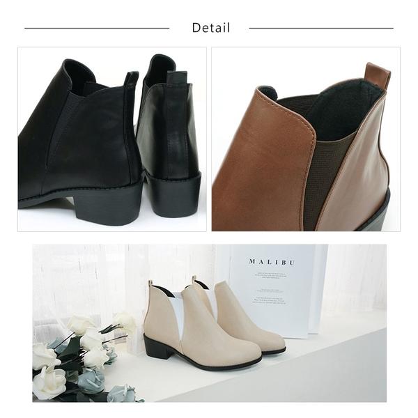 跟靴.MIT俐落側V形鬆緊套式中跟短靴.黑/咖/米【鞋鞋俱樂部】【023-CM7809】4.5cm 楦頭偏窄