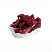 PUMA Basket Heart Glam 緞帶 輕量休閒 運動鞋 《7+1童鞋》8197紅色