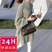 梨卡★現貨 - 二色復古chic中長版寬鬆慵懶系女孩長袖高領開叉毛衣外套針織衫B586