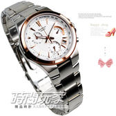 SHEEN SHE-5019SG-7A 三眼錶 玫瑰金框 白面 不鏽鋼錶帶 女錶圓錶 39mm SHE-5019SG-7ADR CASIO卡西歐
