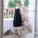 中大尺碼洋裝 L-5XL 吊帶裙收腰拼接顯瘦吊帶洋裝(不含T恤) #wm1285 @卡樂@