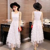 2018春夏裝新款韓版時尚女洋裝小清新蕾絲雪紡A字長裙  ys354『毛菇小象』