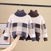 兒童毛衣 男童洋氣打底高領毛衣加厚冬裝兒童格子水貂絨加絨針織衫 交換禮物