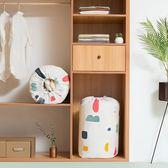 ✭慢思行✭【Z166】花漾圓筒棉被收納袋(大90x45cm) 束口 搬家 櫥櫃 防水 棉被罩 衣物 換季 被單
