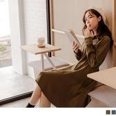 《DA7091》質感系襯衫領排釦修身及膝洋裝 OrangeBear
