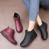 冬季真皮媽媽棉鞋中老年加絨保暖平底舒適防滑老人棉靴短靴女
