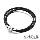 Angemiel安婕米 義大利純銀珠飾 雙圈皮革手環(黑色)