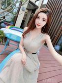 V領無袖露肩收腰連身裙禮服長裙女  創想數位