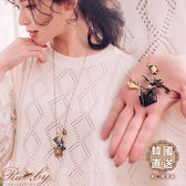 項鍊 韓國直送小鳥鑰匙蝴蝶結相框長項鍊-Ruby s 露比午茶