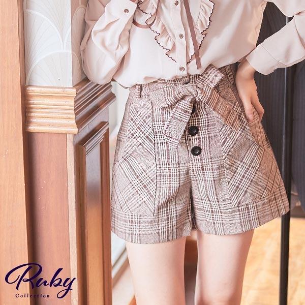 褲子 配色格紋綁帶短褲-Ruby s 露比午茶