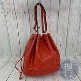 BRAND楓月 HERMES 愛馬仕 T刻 橘紅色 鴕鳥皮 水桶包 束口包 經典款
