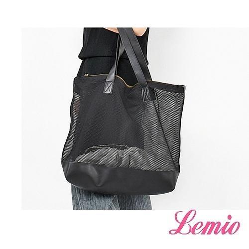 【Lemio】LD系列訂製尼龍網帶子母單肩包(性格黑)