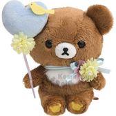 〔小禮堂〕懶懶熊 拉拉熊 絨毛玩偶娃娃《S.棕藍.拿汽球》擺飾.玩具 4974413-71695