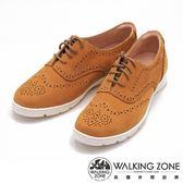 WALKING ZONE 英倫風巴洛克雕花休閒鞋 女鞋-黃(另有藍、紅)