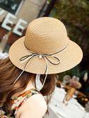 遮陽帽-遮陽帽-新款帽子女韓版潮草帽簡約百搭遮陽防曬漁夫帽草編日系可折疊 糖糖日系
