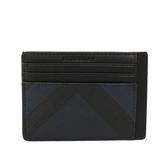 【BURBERRY】煙燻格紋PVC皮革卡片夾(海軍藍/黑色)3998942