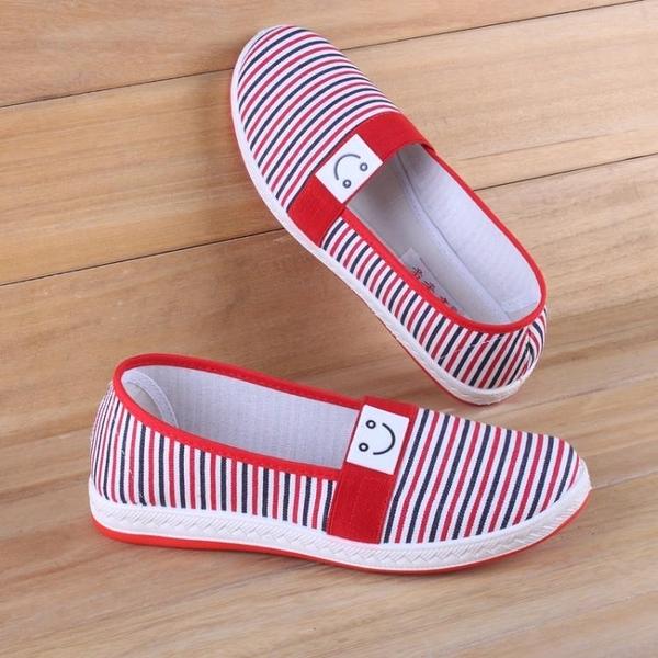 布鞋女平軟底新款女士老北京布鞋中老年人媽媽休閒鞋一腳蹬防滑 怦然心動