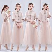 中式婚禮新款伴娘服小禮服秋冬長2021粉色顯瘦氣質簡約學生畢業照 韓國時尚週 免運